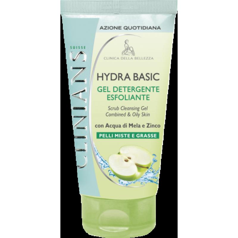 Очищающий гель-скраб для лица c экстрактом яблока и цинка – для смешанной и жирной кожи Clinians HYDRA T