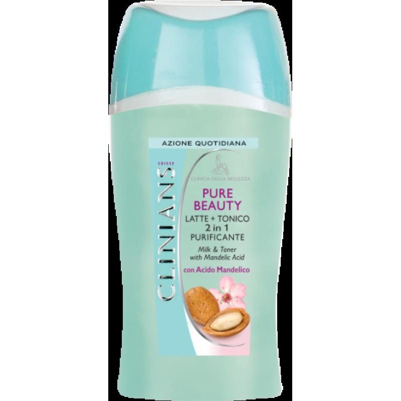 Очищающее молочко+тоник 2в1 c миндальной кислотой- CLINIANS PURE BEAUTY